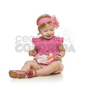 Macacão Curto Bebê Menina Floral Kamylus