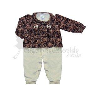 Macacão Longo Bebê Menina Estampado em Plush Pettenati