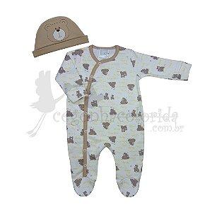 Macacão Longo Bebê Menino Ursinho com Touca
