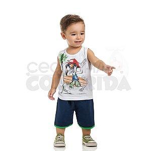 Conjunto Curto Infantil Menino Surfista Profissional