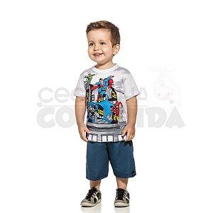 Conjunto Curto Infantil Menino Super Heróis