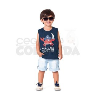 Camiseta Regata Infantil Menino Mr.Crab Captain Kiko & Kika
