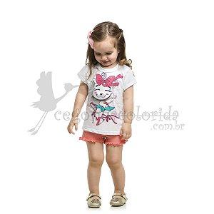 Blusinha Manga Curta Infantil Menina Gatinha Bailarina