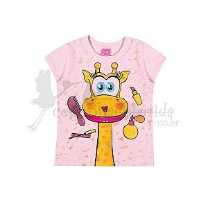 Blusinha Manga Curta Bebê Menina Girafinha Vaidosa