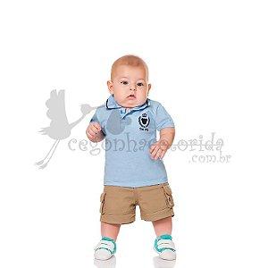 Camisa Polo Manga Curta Bebê Menino Bordada Kiko Baby