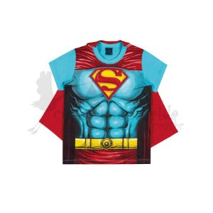 Camiseta Manga Curta Infantil Menino Super Heróis com Capa