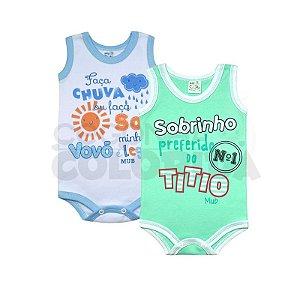 Body Regata Bebê Menino Frases Divertidas