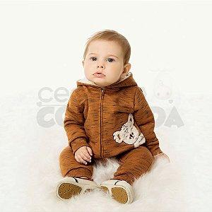 Macacão Longo Bebê Menino em Moletom Jet Peluciado Kiko Baby