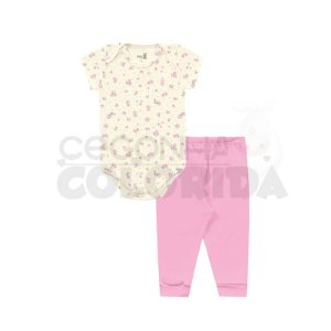 Conjunto Bebê Body Floral Manga Curta com Calça Kiko Baby