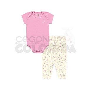 Conjunto Bebê Body Manga Curta com Calça Floral Kiko Baby