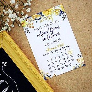 Save the Date Aniversário Floral Azul