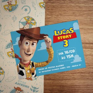 Convite Infantil Toy Story Woody com Envelope