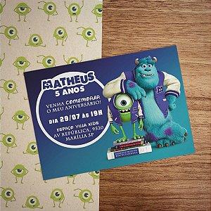 Convite Infantil Monstros S.A. com Envelope