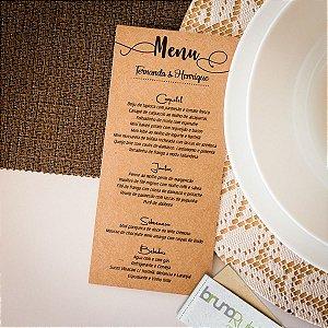 Menu Cardápio Kraft Simples para Casamento