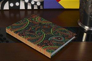 Caderno sem pauta - Preto com verde
