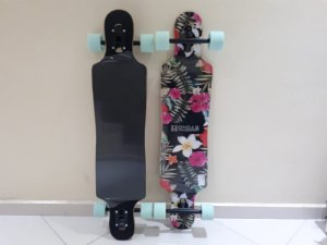 "Longboard Hondar completo - Floral Pink - 38"" - Drop Through"