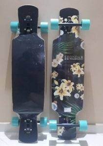 "Longboard Hondar completo - Floral Yellow - 38"" - Drop Through"