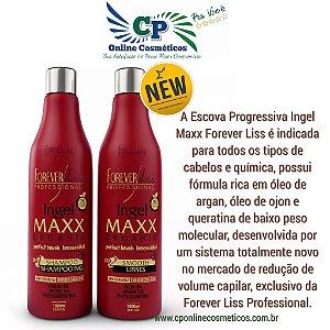 Nova Escova Progressiva Ingel Maxx - Sem Formol - Forever Liss 2x1 Litro