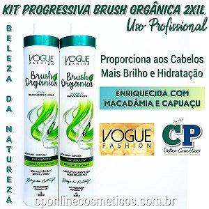 kit Escova Progressiva Brush Orgânica Sem Formol 2x1 Litro - Vogue Fashion
