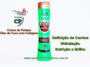 Creme de Pentear Óleo de Coco com Colágeno 300ml - Minas Fórmula