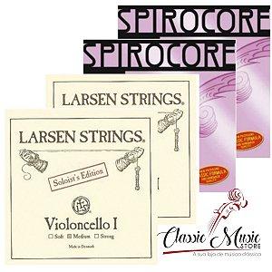 Jogo De Cordas Para Cello Larsen Solo E Spirocore Tungstênio