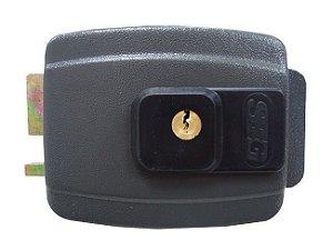 Fechadura Elétrica SEG 12V Cilindro Ajustável Externa Cinza.