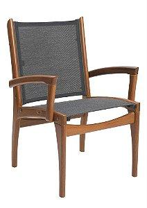 Cadeira Fendi Madeira Cumaru com Braços em Tela Preta