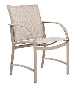 Cadeira Ferrara alumínio pintado champanhe e tela sling ISO bege