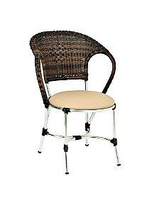 Cadeira em Alumínio Polido e Fibra Sintética Argila