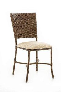 Cadeira em Alumínio Revestido e Fibra Sintética com Assento Estofado