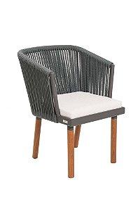 Cadeira Florença Alumínio com Corda Náutica Prata