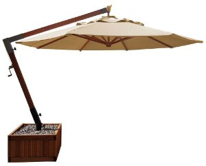 Ombrellone lateral slim fixo madeira Eucalipto com floreira e lona bagum creme D240