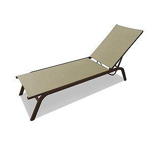 Espreguicadeira Texas reclinável alumínio pintado marrom e tela sling khaki