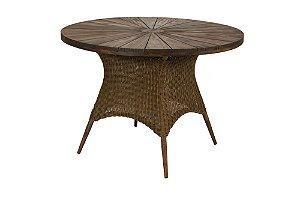 Mesa Piazzo estrutura alumínio revestido e fibra sintética chocolate liso com pés em madeira Jequitibá D100