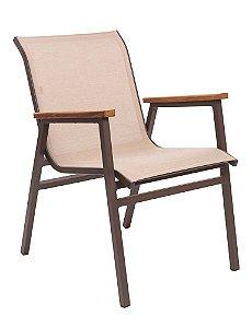 Cadeira Itapoá em Alumínio pintado com Tela Sling e braço em Madeira
