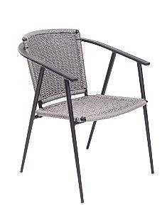 Cadeira Verona com braço alumínio pintado cinza com corda náutica prata