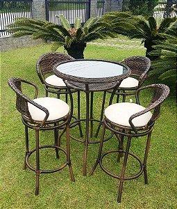 Conjunto com 1 mesa bistrô com vidro embutido D70 e 4 banquetas Arco Balena alumínio revestido e fibra sintética argila
