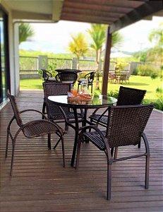 Conjunto com 1 mesa Egito sem rebaixo D80 e 4 cadeiras NL alumínio revestido e fibra sintética argila