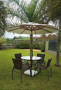 Conjunto com 1 mesa Egito sem rebaixo D80, 4 cadeiras NL, 1 ombrellone central D210 e base de concreto