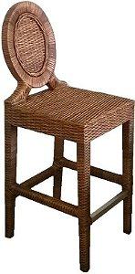 Conjunto com 4 banquetas Nevis alta madeira Jequitibá revestido em Junco natural e apoio dos pés em alumínio escovado
