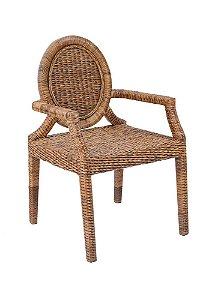 Conjunto com 4 cadeiras Nevis madeira Jequitibá revestido em Junco natural