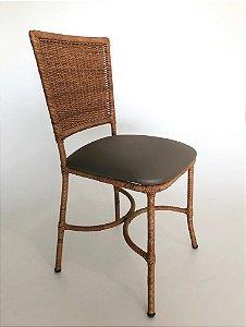 Conjunto com 6 cadeiras Básica aço galvanizado revestido e Junco trama única assento estofado