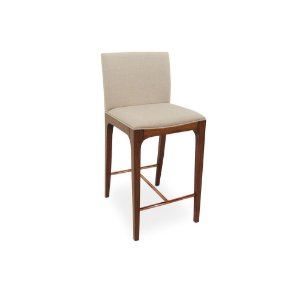 Banqueta Camilla alta madeira Jequitibá fênix e apoio dos pés em alumínio cobre com assento e encosto estofados