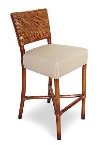 Banqueta Crisia alta madeira Jequitibá colonial com encosto em palha italiana e assento estofado