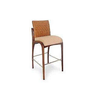 Banqueta Nice alta sem braços madeira Jequitibá amêndoa e apoio em alumínio polido com encosto em palha fina e assento estofado