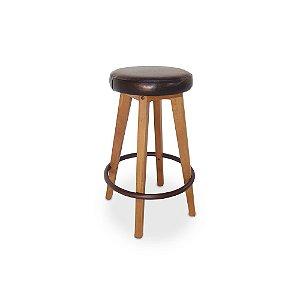 Banqueta Pub alta madeira Jequitibá amêndoa dourado e apoio dos pés em alumínio pintado marrom com assento estofado