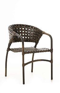 Cadeira Ana Alumínio com Fibra Sintética Trama Aberta Argila