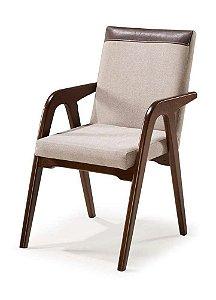 Cadeira Balú madeira Jetuitibá tabaco com assento e encosto estofados com detalhe em courino