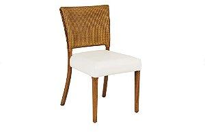 Cadeira Bruna madeira Jequitibá colonial com encosto em palha italiana e assento estofado