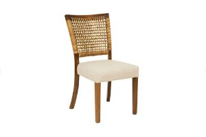Cadeira Capri madeira Jequitibá colonial com encosto em Junco natural e assento estofado